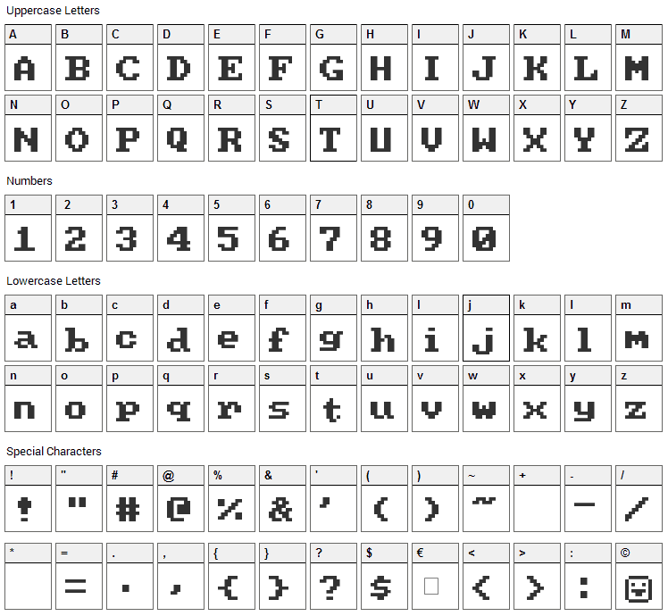 PC Senior Font Character Map