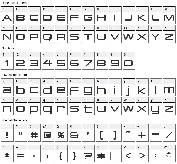 PCap Terminal Font Character Map