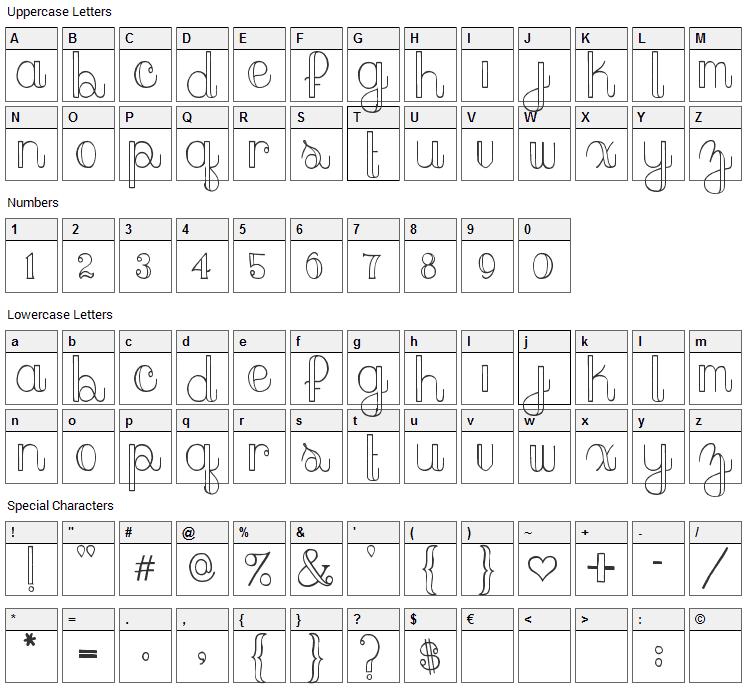 Peach Sundress Font Character Map