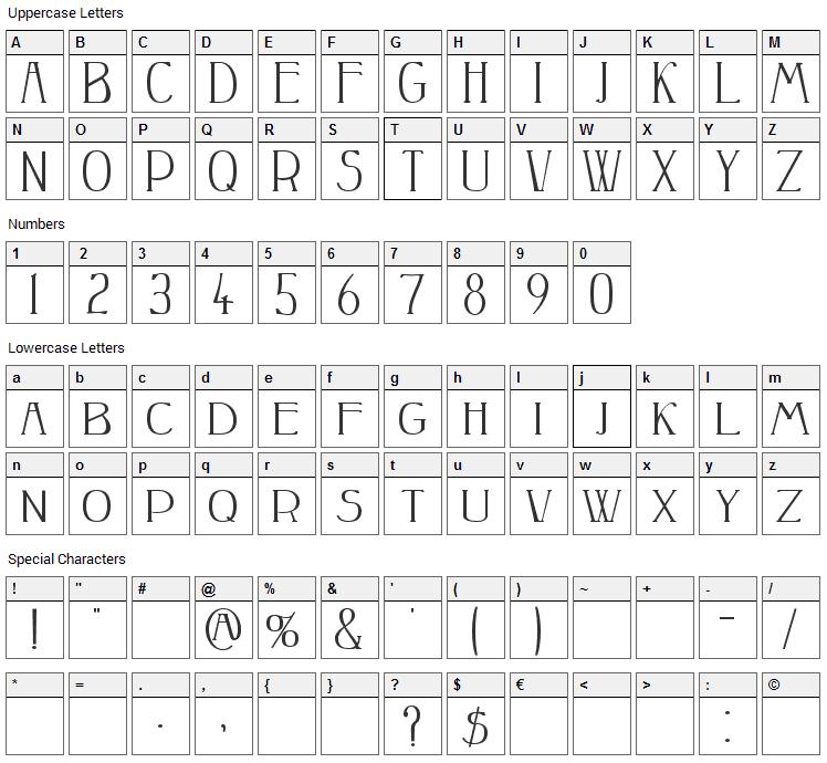 Peake Font Character Map