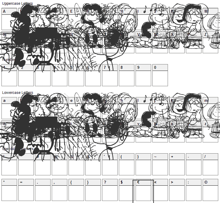 Peanuts Gang Dings Font Character Map