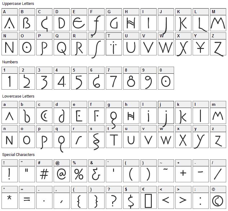 Pegasus Font Character Map