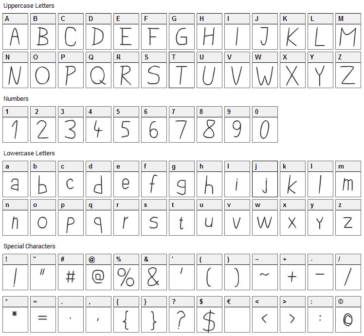 Pencil Case Font Character Map