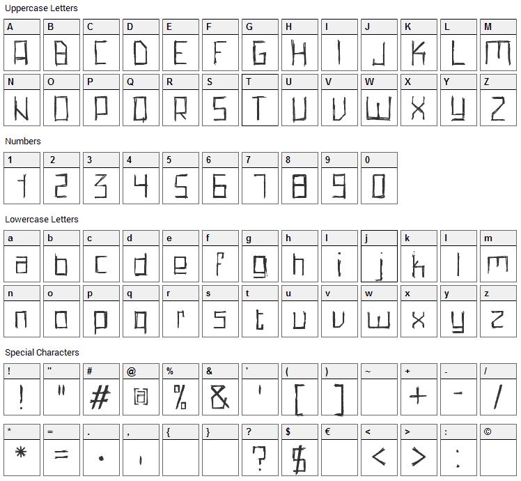 Pencil Grid Font Character Map