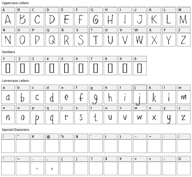 Pencil Pete Font Character Map