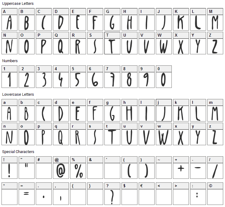 Penis Font Character Map