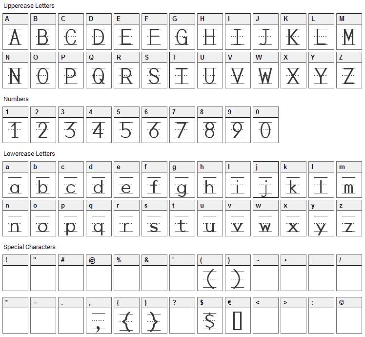 Penmanship Print Font Character Map