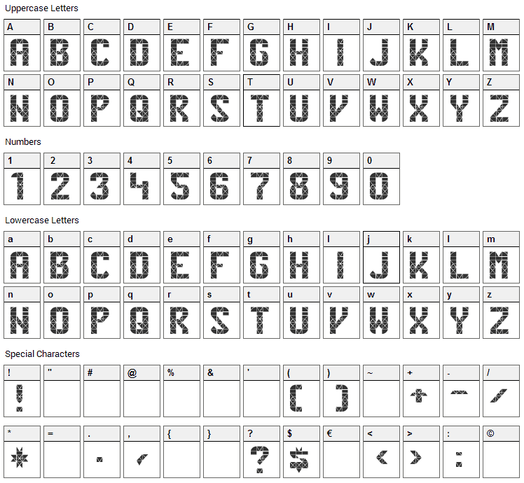 Penn Station Font Character Map