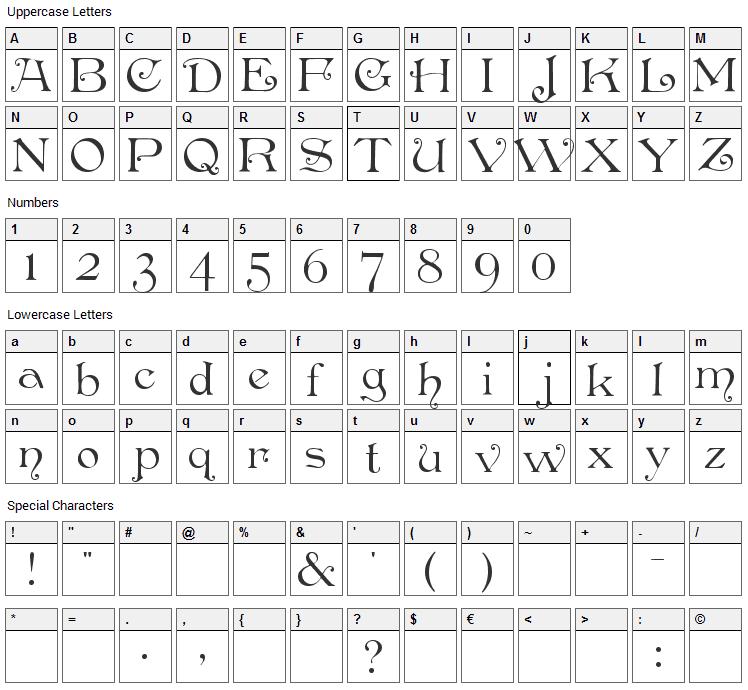Penshurst Font Character Map