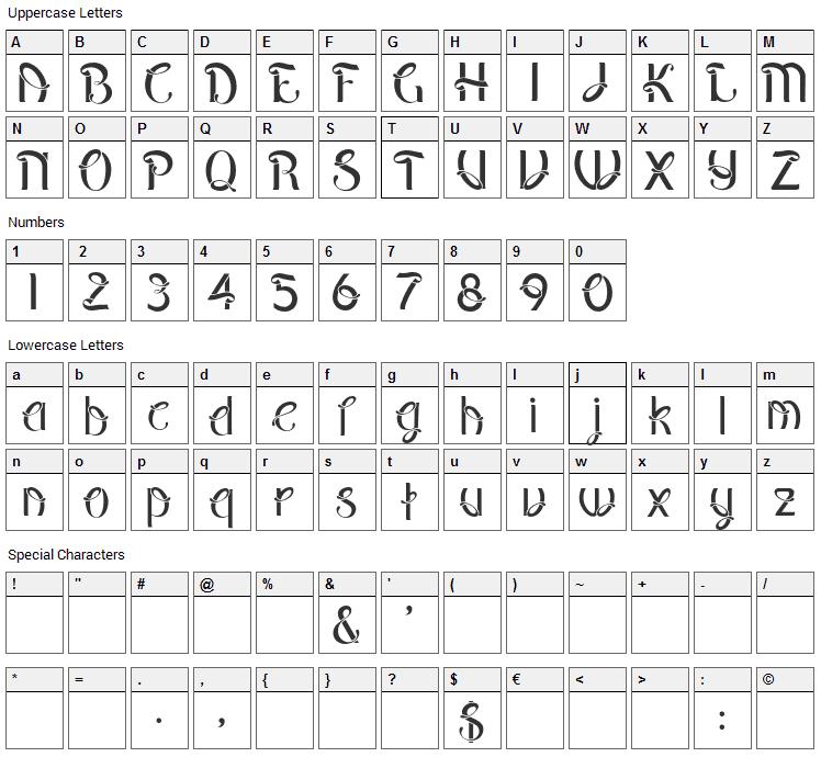 Pepinot Font Character Map