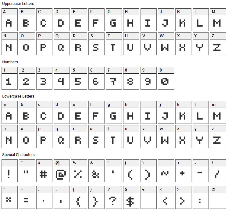 PEPminus10 Font Character Map