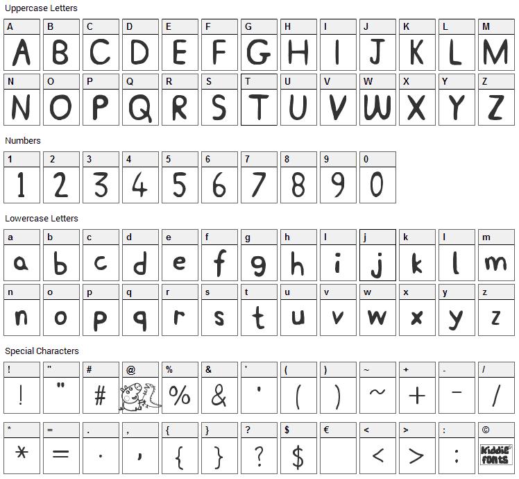 Peppa Pig Font Character Map