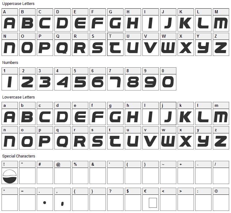 Pepsi Font Character Map