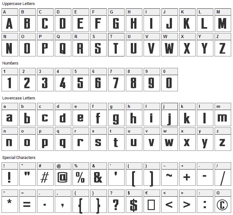 Perca Font Character Map