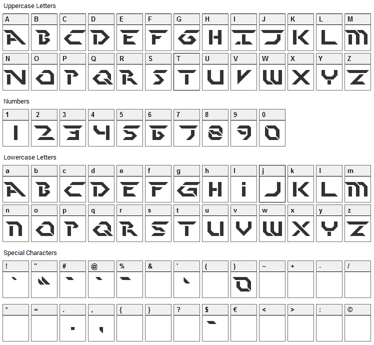 Perfect Dark Font Character Map