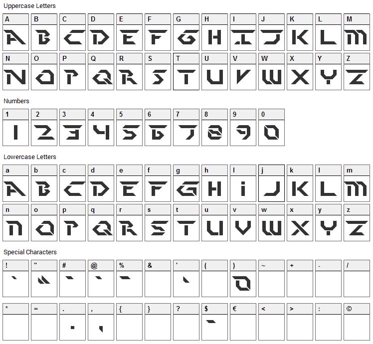 Perfect Dark Font Character Map