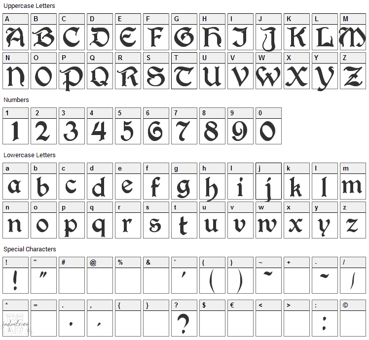 Perry Gothic Font Character Map