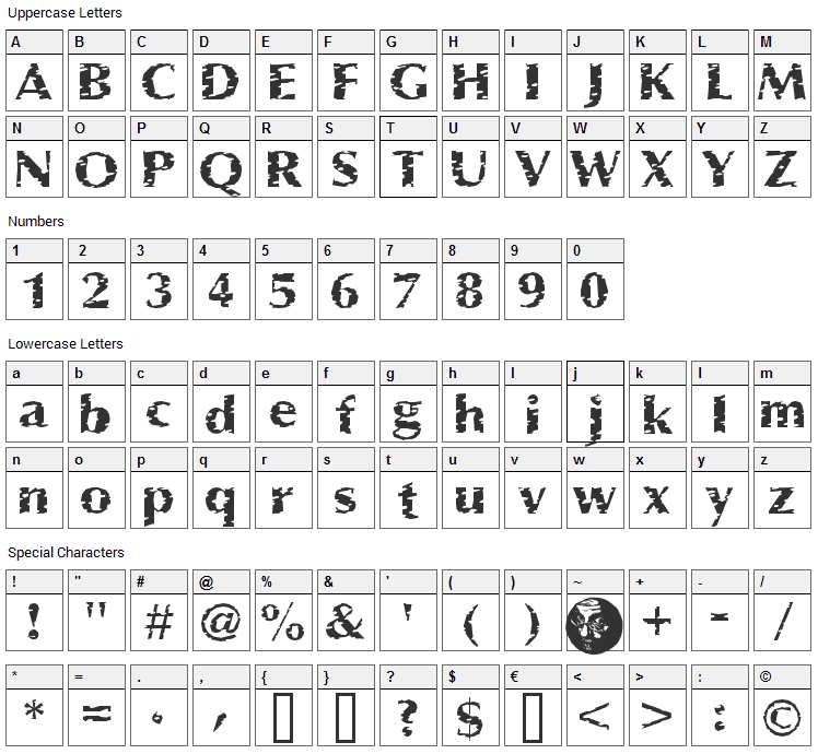 Pessima Font Character Map