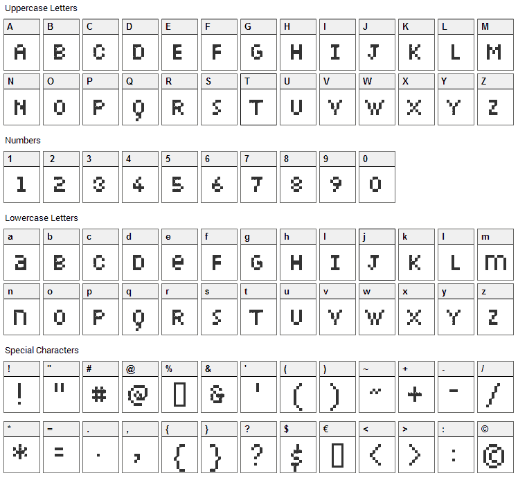 Petiote Font Character Map