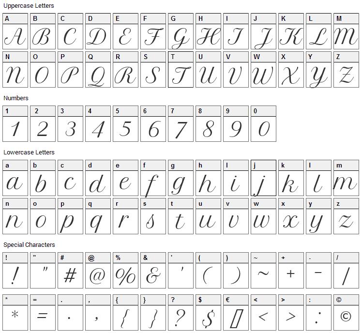 Petit Formal Script Font Character Map