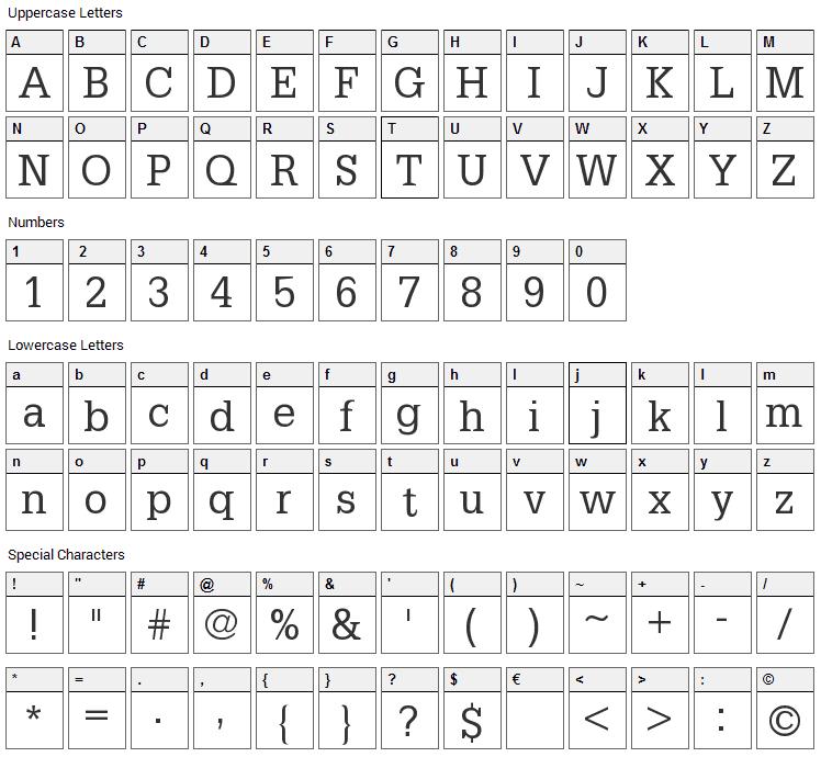 Petit Latin Font Character Map