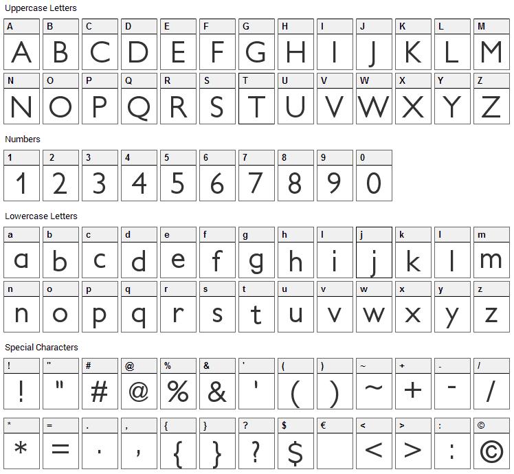Petita Font Character Map