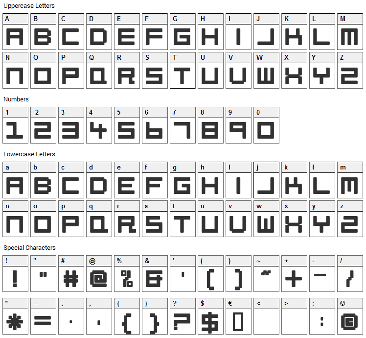 Petitinho Font Character Map