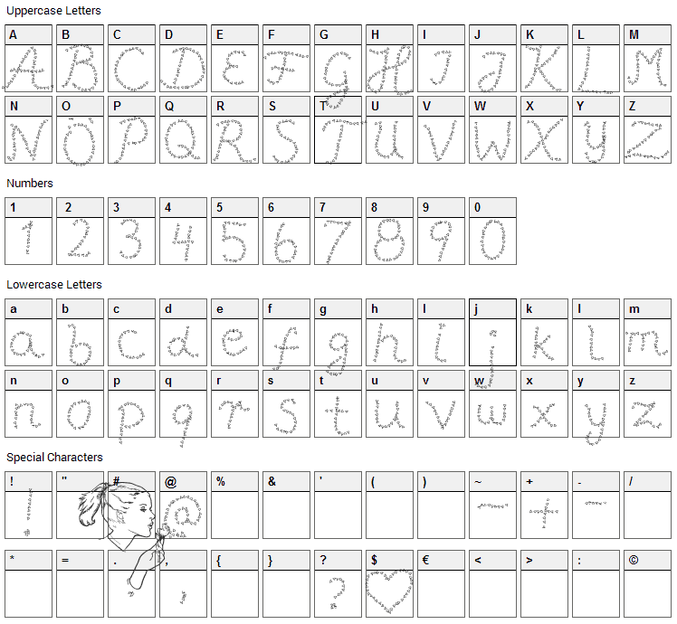 Pffft Font Character Map
