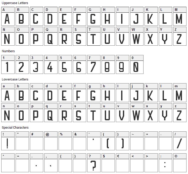 PFHall Font Character Map