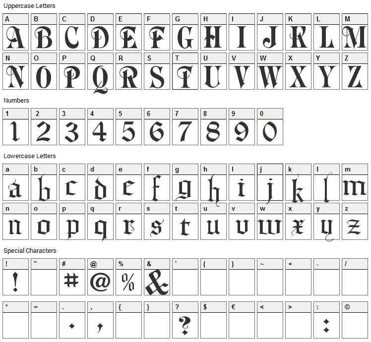 Phalyn Font Character Map