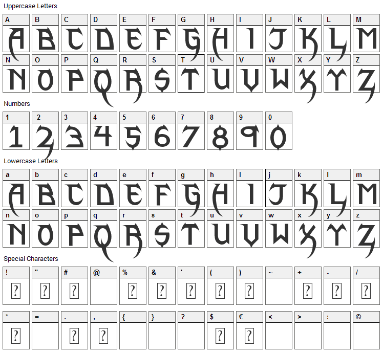 Phantom Lord Lite Font Character Map