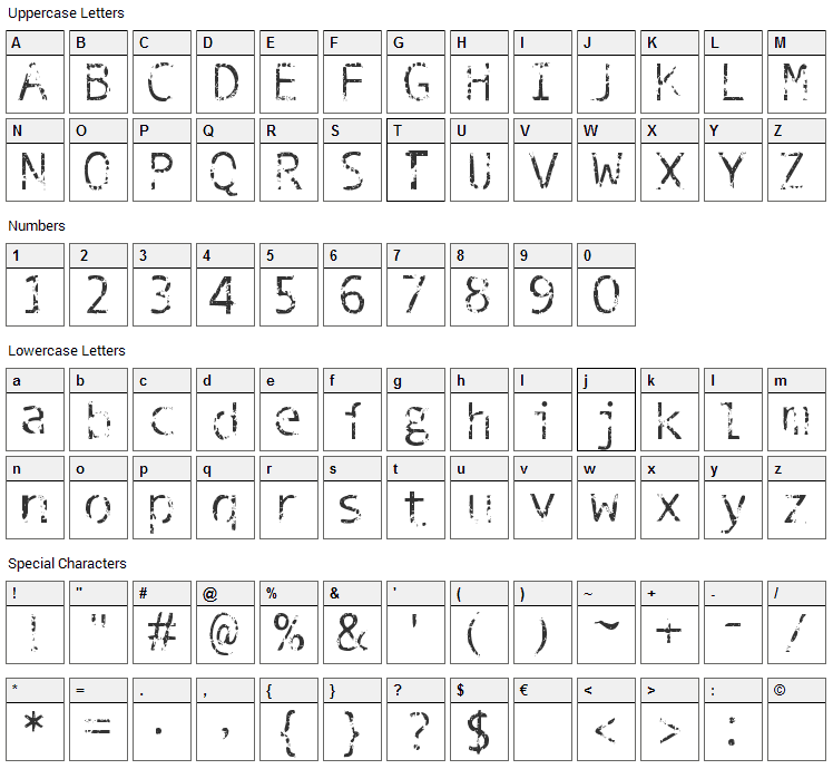 Phantomime Font Character Map