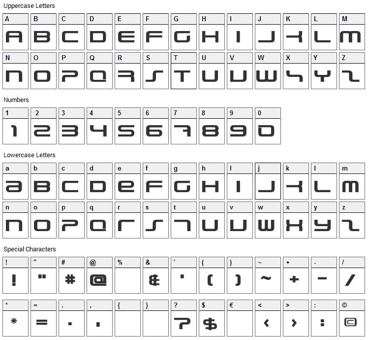 PhatBoy Slim Font Character Map