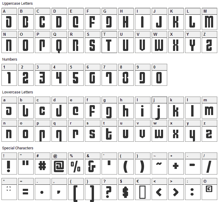 Philadelphia Font Character Map