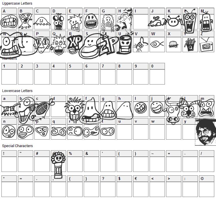PhilBats Font Character Map
