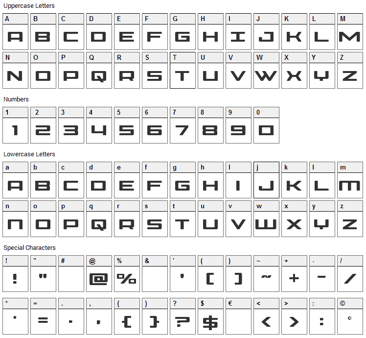 Phoenicia Font Character Map