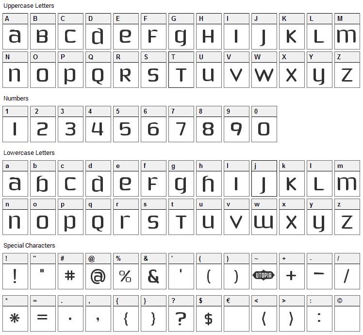 Phoenix Sans Font Character Map