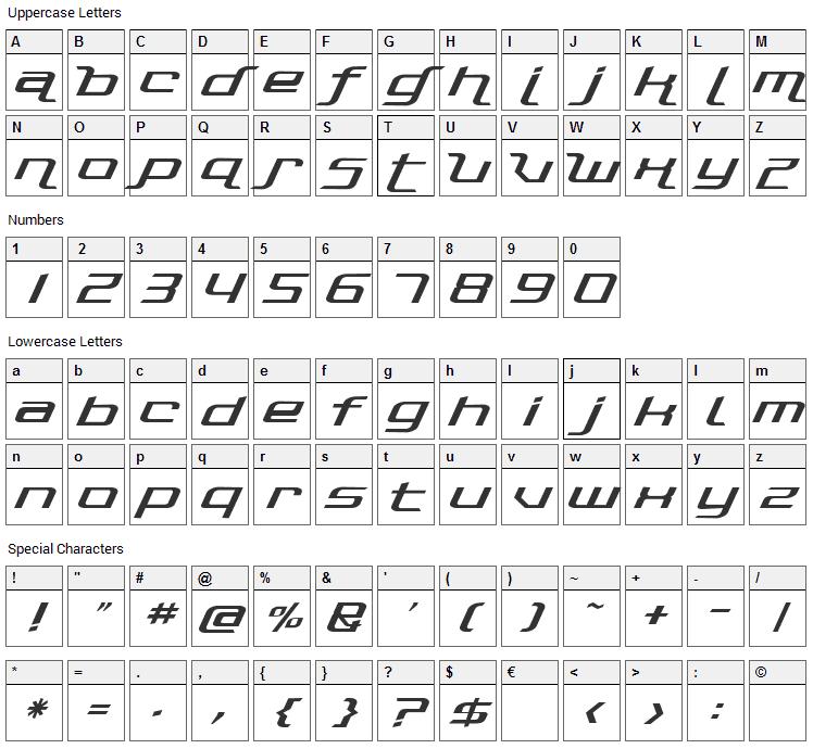 Photonica Font Character Map