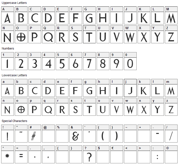 Phrixus Font Character Map