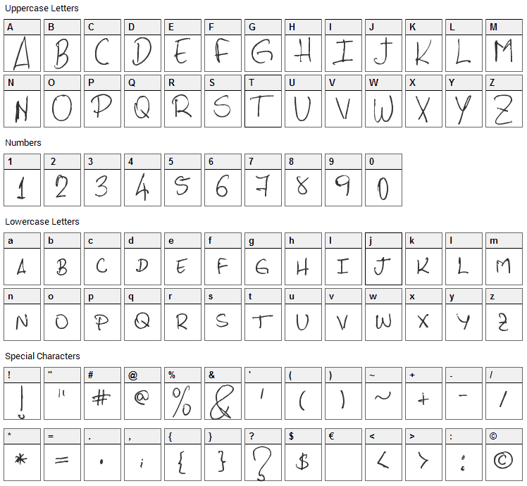 PHRocha Scrypt Font Character Map