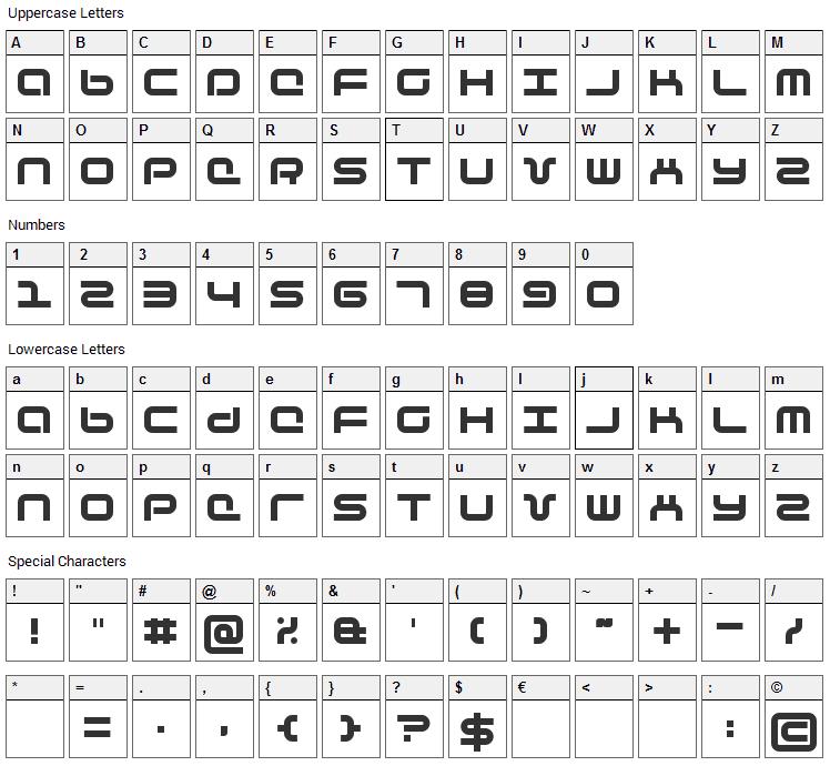 Phutura Font Character Map