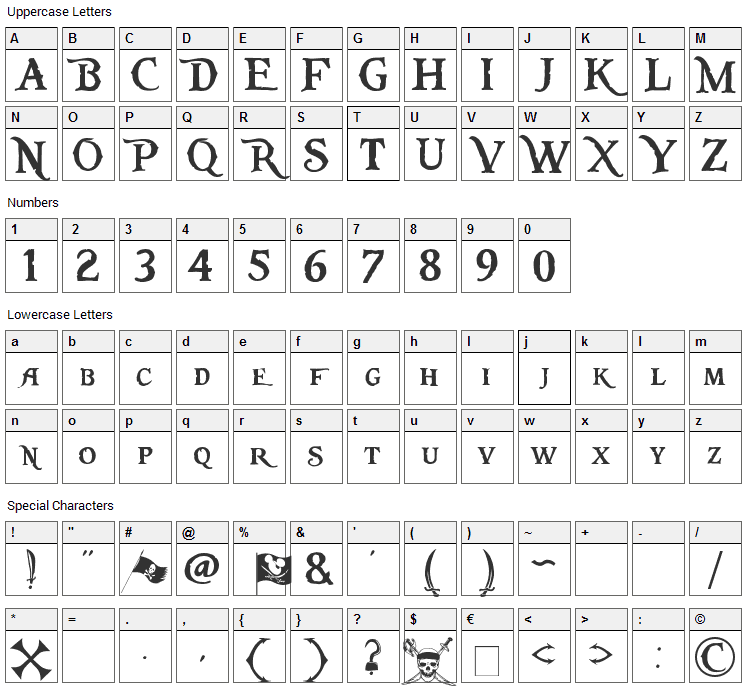 Pieces of Eight Font Character Map