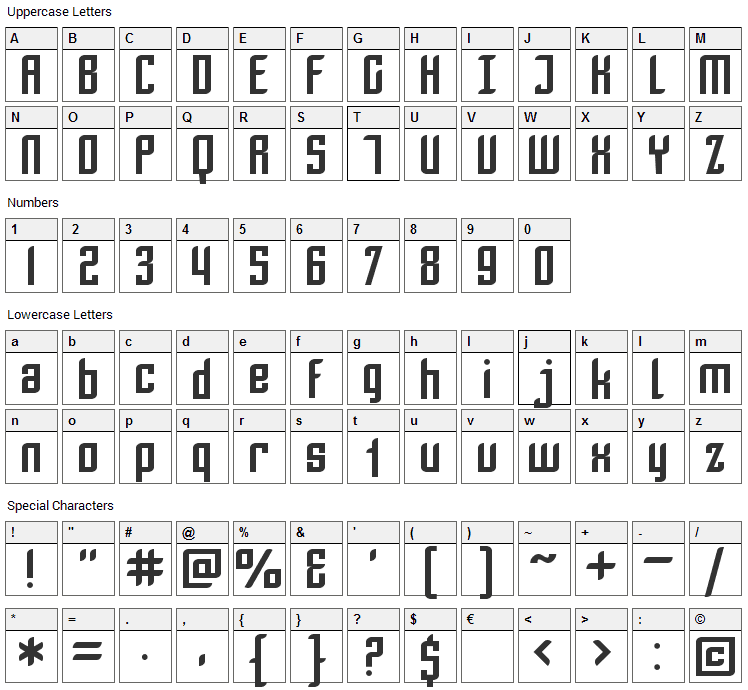 Piezolectric Font Character Map