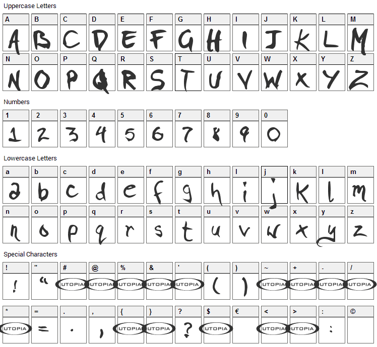 Pigae Font Character Map