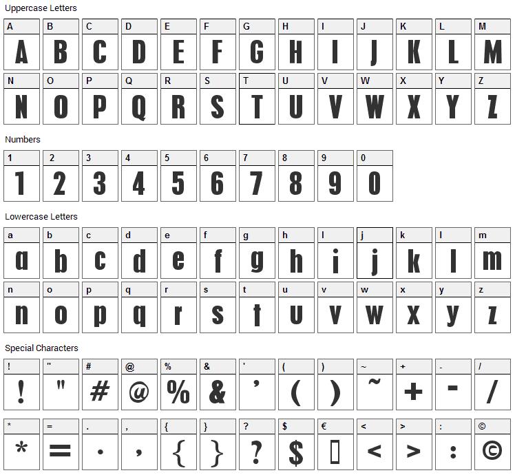 Pilsen Plakat Font Character Map