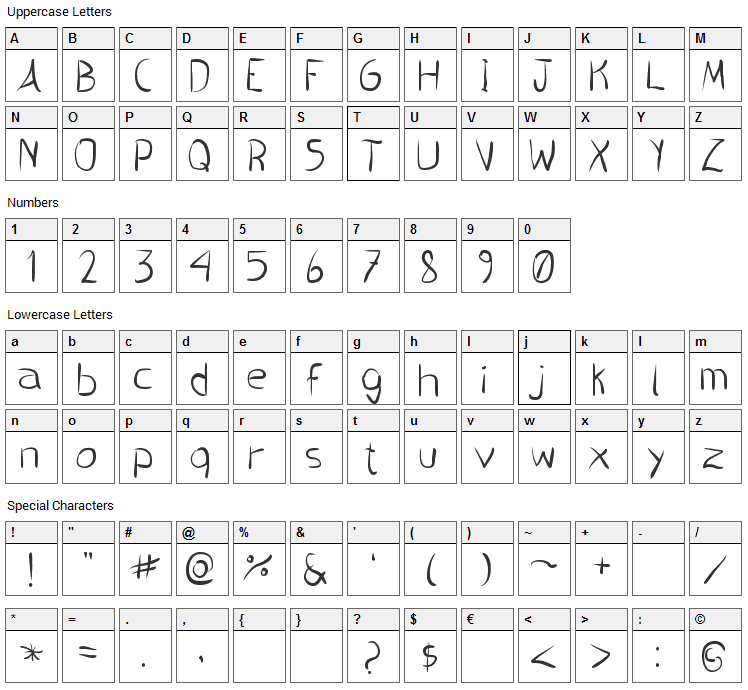 Pincel Handwrite Font Character Map