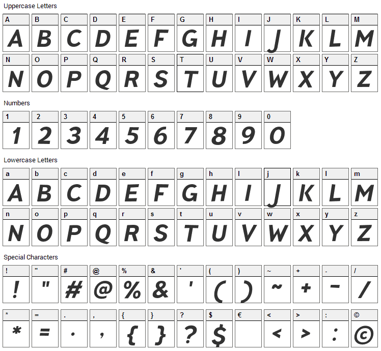 Pines Font Character Map
