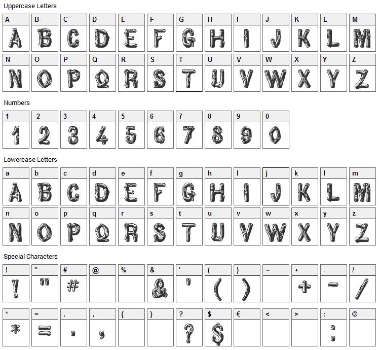 Pinewood Font Character Map