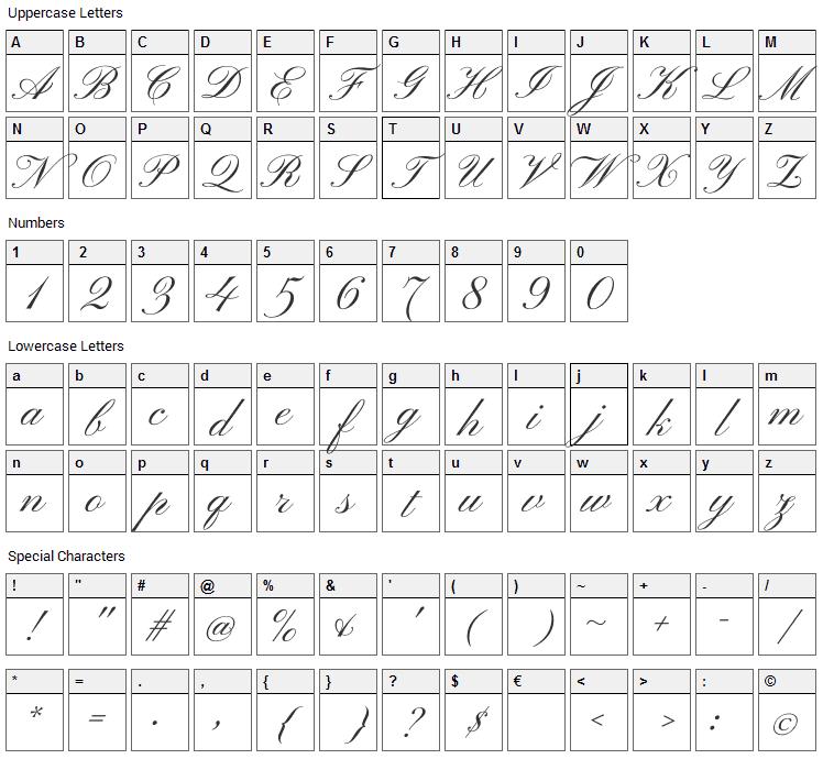 Pinyon Script Font Character Map