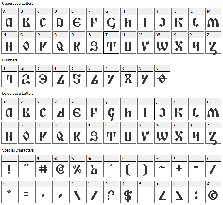 Piper Pie Font Character Map
